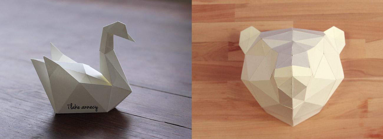 papertoy_lowpoly_tougui_animal_bear_bird